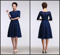 Wholesale 2016 Lace Royal Blue Evening Dresses Knee Length Real Model Show Sleeves A Line Evening Gowns Short Party Gowns Bridesmaid Dresses