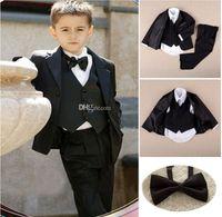 Wholesale Hot Sale Purple Fashion Custom Made Kid Notch Collar Children Wedding Suit Boys Attire Foraml Jacket Pants Tie Vest
