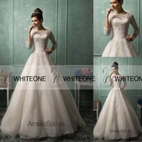 Wholesale Amelia Sposa Long Sleeve Lace Wedding Dresses Bateau Ball Gown Applique Court Train Zipper A Line Vintage Wedding Dresse Gowns