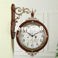 antique garden tables - 100 real picture Watches and clocks hanging garden living room table Continental wood wall clock mute creative sided antique clock beautif