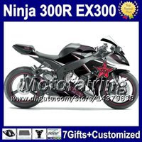 Wholesale 7gifts Black silver Injection For KAWASAKI NINJA EX ZX R F2133 EX300R R ZX300R EX300 Red star Fairing