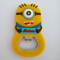 Wholesale NEW Fashion CartoonDespicable Me Minion Bottle Opener Refrigerator Fridge Magnet Sticker Beer Opener Ornament Craft Souvenir Collection Gift