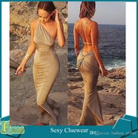Wholesale Ladies Sexy Slim Mermaid Evening Prom Party Beach Dress Women Halter Strapless Wrapped Package Hip Maxi Dresses Swimwear For Women