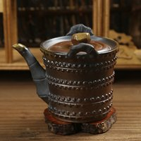 antique japanese pottery - Taiwan firewood crude pottery handmade ceramic teapot kung fu tea side of the pot nostalgic antique Japanese Ti Liang pot