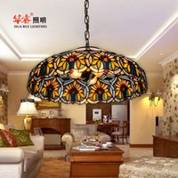 Wholesale Tiffany multicolour glass classic pendant lighting pastoralism lights restaurant study dining room light coffe Sunflower chandeliers dia60cm