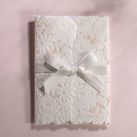 beauty supply houses - Western Style White Hollow Lace Design Wedding Invitations Supplies Beauty Card With Envelope Wedding Cards Creative Best Price