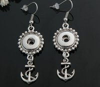 anchor button earrings - anchor drop ship silver plated mm Noosa Button Earrings accessories trade jelwery DIY noosa earrings with stud snap button earring