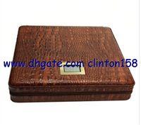 Wholesale COHIBA Brown Leather Croco Pattern Cedar Cigar Humidor Cutter Lighter Case Set