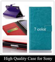 achat en gros de xperia z1 rétro cas-Deluxe Retro Crazy Horse Portefeuille Flip Housse en Cuir PU pour Sony Xperia Z L36h C6603 C6602 / Z1 L39h / Z1 mini / Z2 Téléphone Mobile