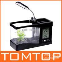 Wholesale pc Mini USB LCD Desktop Lamp Light Fish Tank mini Aquarium lcd display LED Clock H4874