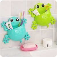 Wholesale 2016 Bathroom Products Sets Cartoon animal Toothbrush Toothpaste Holder container Wall Sucker Suction Hook Tooth Brush holder