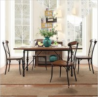 Wholesale Factory direct American vintage wood dining tables and chairs iron dinette