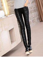Wholesale Women new winter leisure fashion high waist and thickening warm tight stitching stretch leather pants like a pencil M xl