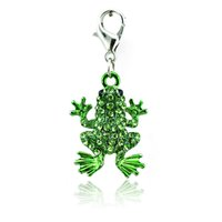 Charms lobster clasp charms - Fashion Floating Charms Alloy Color Rhinestone Frog Animals Lobster Clasp Origami Style Charms Pendants DIY Jewelry Accessories