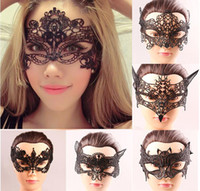 Wholesale Women Fashion Crown Fox Bat Design Halloween Masquerade Masks Black Halloween Party Lace Face Masks Graduation Birtyday Sexy Half Face Masks