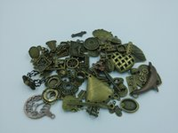 antique brass findings - 50g Antique Bronze Vintage Brass Charm Pendant Clasp Bead End Finding OTS004