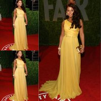 alicia keys red carpet dresses - Alicia Keys One Shoulder A Line Yellow Celebrity Red Carpet Dresses Sexy One Shoulder Beads Chiffon Backless With Trains Women Prom Dresses