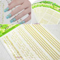 art styles logos - 12Sets New Fashion D Gold Classical Style and Logo Lace Sticker Designs Stickers Charms DIY Nail Art Salon Decoration