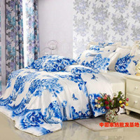 Wholesale Luxury blue and white porcelain comforter bedding set floral silk queen king size comforters duvet cover bedspread bed sheet