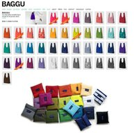 Wholesale Japan Baggu Shopping Bag Reusable Eco Friendly Shopping Tote Bag Environment Cheap Shopping bags Foldable bag Candy Color