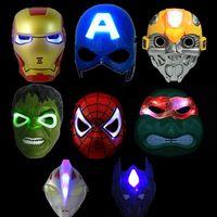 halloween spider - High Quality LED Mask LED Film Mask American Superhero Iron Man Batman Hulk Captain America Spider Man Mask Glow Flash Halloween Children
