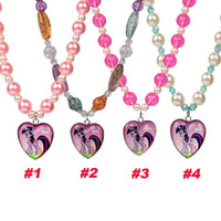 Wholesale My Little Pony Necklace Baby Girl Glass Heart Pendant Necklace Kids Fashion Color Jewelry Necklace Children Christmas Party Gifts YW GD19