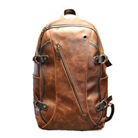 leather canvas laptop bag - Design Artificial Crazy Horse Leather Daily Backpack For Men Laptop Side Zipper Pocket Knapsack Rucksack