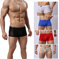 Wholesale 1 Mens Male Sexy Mesh Transparent See Through Boxer Shorts Mens High Quality Underwear Panties Color Size M L XL