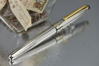 best fountain pen - PURE PEARL MB High Quality Best Design Golden Clip Fountain Pen Silver Wave Cover