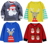 Wholesale ups free ship Little maven Baby long sleeve Christmas t shirt boys striped sant t shirt tops girls animal cotton tshirt children polos
