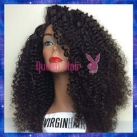 kinky curl lace wig - 6A virgin Hair Kinky Curl Lace Front Wig Glueless Full Lace Human Hair Wigs With Silk Top Remy Peruvian Hair