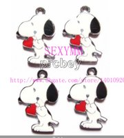 Wholesale New Cute White Snoopy Jewelry Making Metal Charm pendants Party Popular Gifts