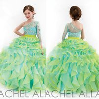little girls party dresses - Sparking Little Girls Pageant Dresses Ball Gown Ruffle Organza One Shoulder Long Sleeve Beading Sequins Long Little Girl Party Dress Dhyz