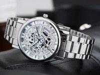 al por mayor reloj esquelético de la moda para hombre-Reloj mecánico esquelético vendedor caliente del reloj de los hombres del oro Reloj mecánico esquelético inoxidable del reloj de Unixes de los hombres Reloj libre de Shipp