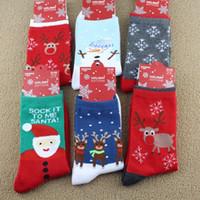 Wholesale 6 designs Christmas gifts Snowman reindeer Santa Claus designed Socks Fuzzy Warm Winter Stockings Xmas Women Man Socks Decorations
