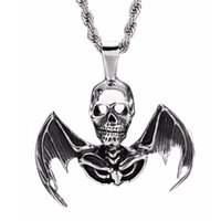 bats heart necklace - Vintage Ancient Silver Evil Skull Wings Bat Vampire Stainless Steel Pendant Necklace Jewelry for Men SP00850