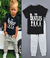 retail clothing - Retail casual sports style kids clothes The Beatles printed boys clothing sets children short sleeve T shirts pants suits HX