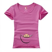 Wholesale Arc Angel Funny short sleeve quot baby peeking out quot maternity clothing casual cotton clothes for pregnant women plus size XXL blouse top tees