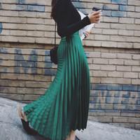 Wholesale Spring new ladies have Korean style leisure joker waves of tall waist bust skirt pleated skirt