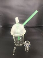 Livraison gratuite Starbuck Cup et nail vase Hookah Original opaque vert clair dab concentré pétrolier verre bong en stock maintenant