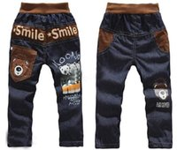 Wholesale hot sale new Kids casual pants Boys Cartoon bear trousers Children jeans Smile pants Lowest Price