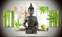 Wholesale 5 Panel Wall Art Buddha Bamboo Flowers Oil Painting Print On Canvas For Wall Decor Wall Pictures Framed art As a gift F