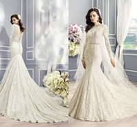 Wholesale 2015 Spring Romantic Long Sleeves Lace Mermaid Wedding Dresses Bateau Neck Backless Beaded Sash Sexy Lace Wedding Gowns Court Train