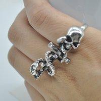 Wholesale 2015 Fashion Retro Punk Skull Snake Cross Finger Rings Rhinestone For women Fashion open rings Jewelry X60 SS1009W M2