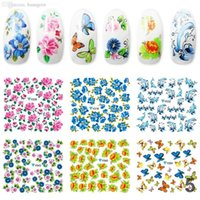 best nail decals - Best Selling Beauty Flower Design Nail Art Stickers Water Ptinting Decoration Decals Tip D Decal Manicure Tools