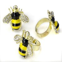 bee rings - New Design Fashion Cute Bee Rings Vintage Punk Party Jewelry Metal Animals Crystal Rhinestone Wings Big Ring For Women