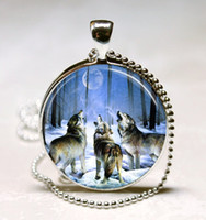 Pendant Necklaces animal howl - Wolf Necklace Howling Wolves Animal Jewelry Full Moon Art Pendant