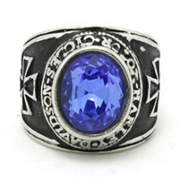 mens sapphire ring - 2014 L Stainless Steel Sapphire Cross Mens Ring Band Party Cross Stone Mens Ring