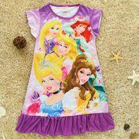 nighties - 2015 New Disnep nightwear Children s Nightie LittLe Girls Pyjama Kid s Cartoon Dress T T Anna Elsa Gown Kid Summer wear Sleepsuit Pink