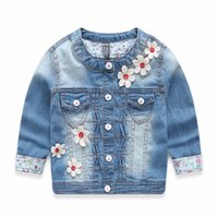 baby jeans jackets - Autumn Winter Kids Clothing Baby Jacket Brand Designer Children Jeans Jacket Flower Kids Jackets for Girls Winter Coats Denim Outerwear